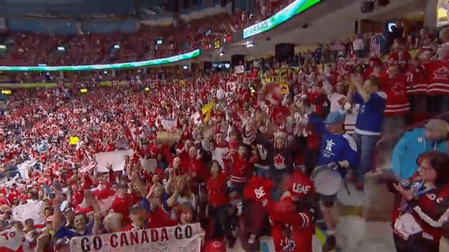 a crowd of canadians